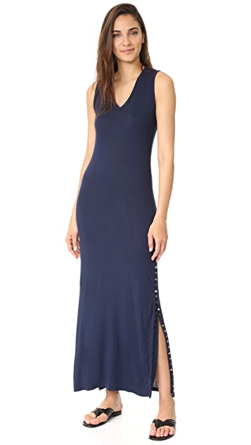 Haute Hippie Long V Neck Muscle Dress with Button Side Slits