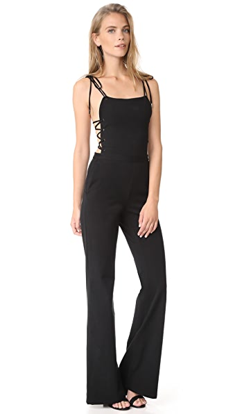 Haute Hippie Strappy Jumpsuit In Black