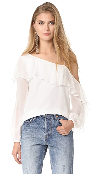 Haute Hippie One Shoulder Your Girl Blouse - Swan