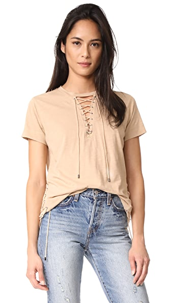 Haute Hippie Haute Lace Up Tee - Linen