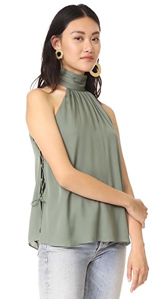 Haute Hippie Side Tie Morrison Blouse In Grass