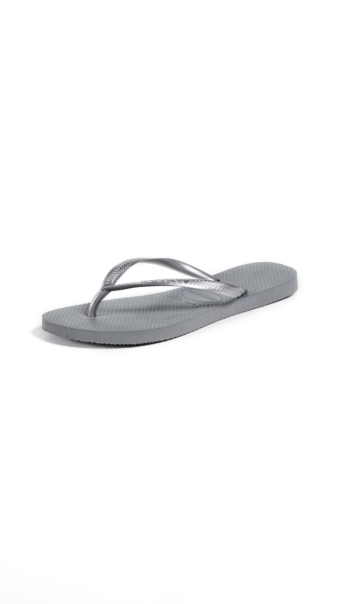 Havaianas Slim Flip Flops - Grey/Silver