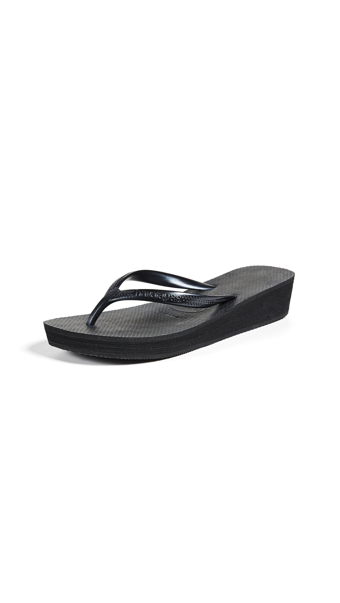 Havaianas High Light Wedge Flip Flop - Black