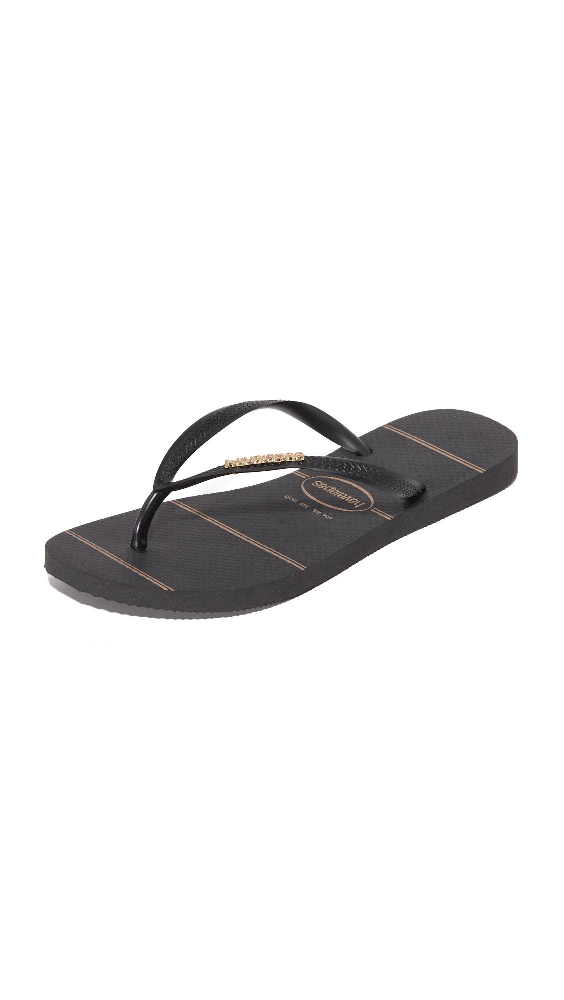 Havaianas Slim Logo Metallic Fine Lines Flip Flops - Black/Black at Shopbop