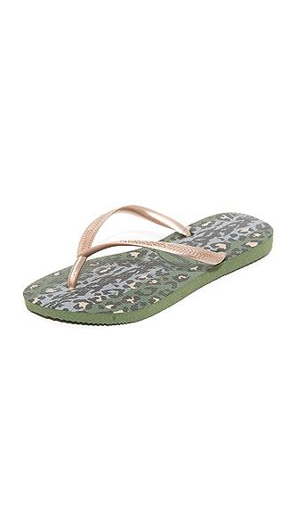 Havaianas Slim Animals Flip Flops - Green Olive