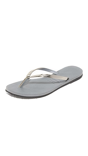 Havaianas You Metallic Flip Flops - Steel Grey