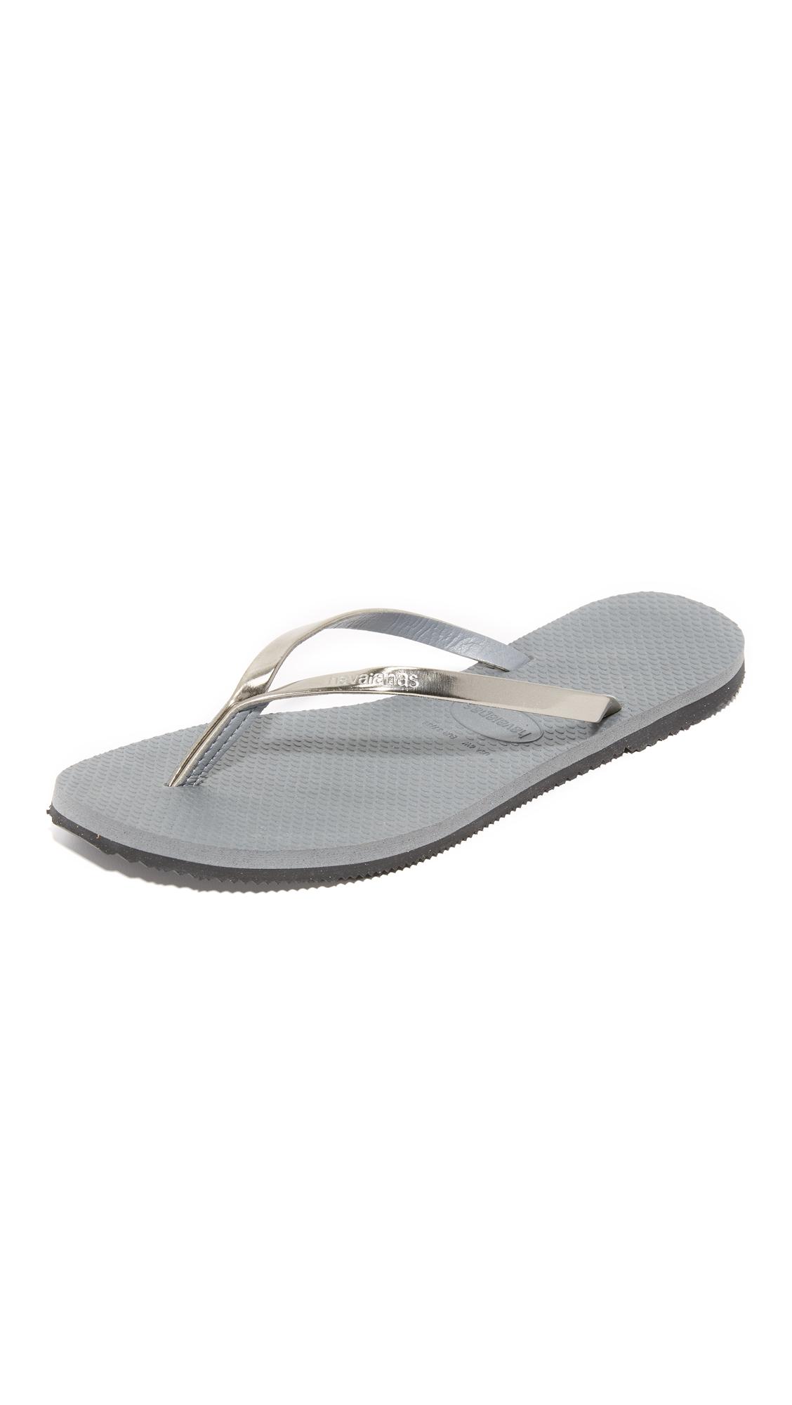 Havaianas You Metallic Flip Flops - Steel Grey at Shopbop