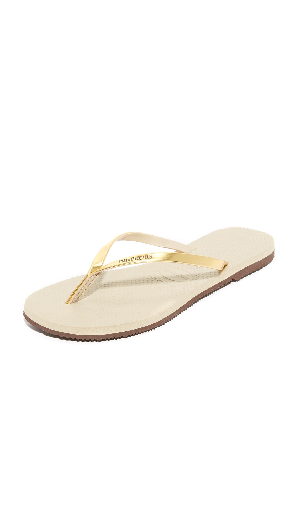 Havaianas You Metallic Flip Flops - Sand Grey/Light Golden at Shopbop