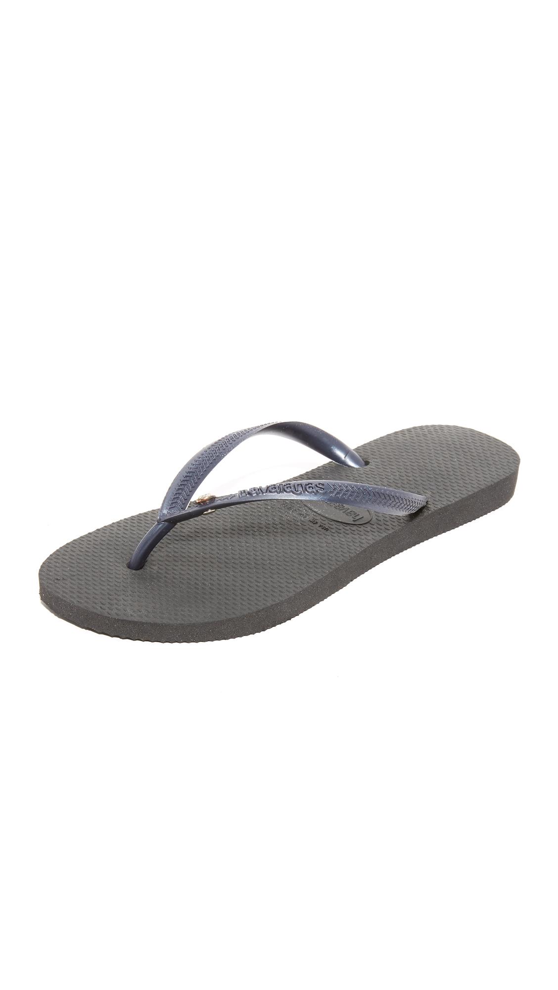 Havaianas Slim Crystal Glamour Flip Flops - Black at Shopbop