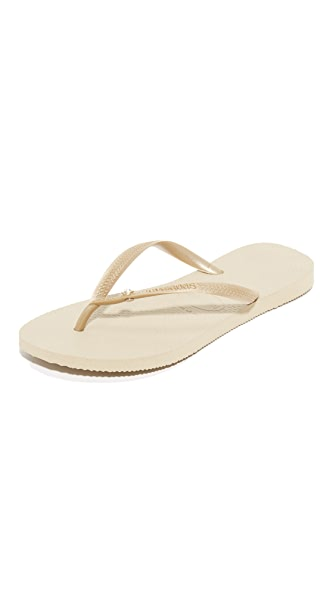 Havaianas Slim Crystal Glamour Flip Flops - Sand Grey/Light Golden
