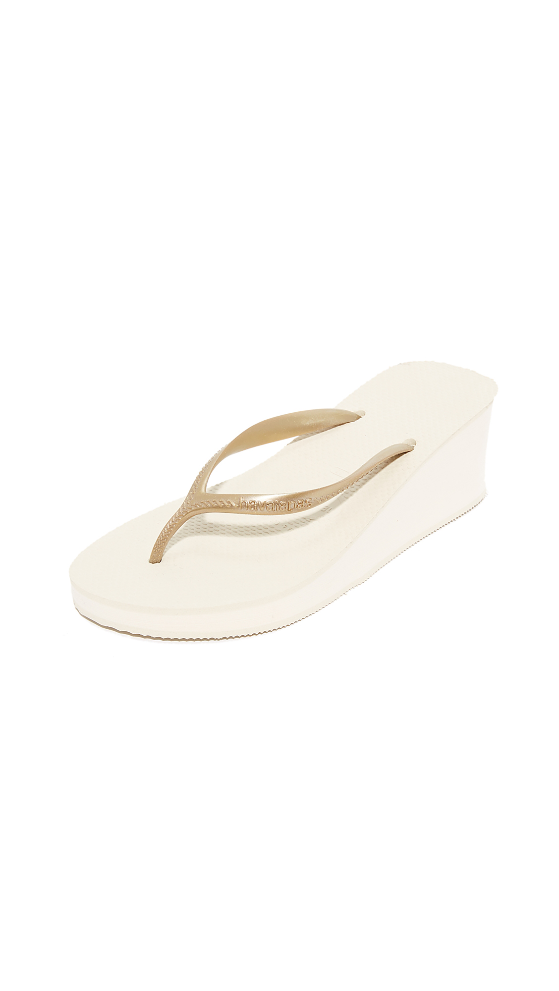 Havaianas High Fashion Wedge Sandals - Beige