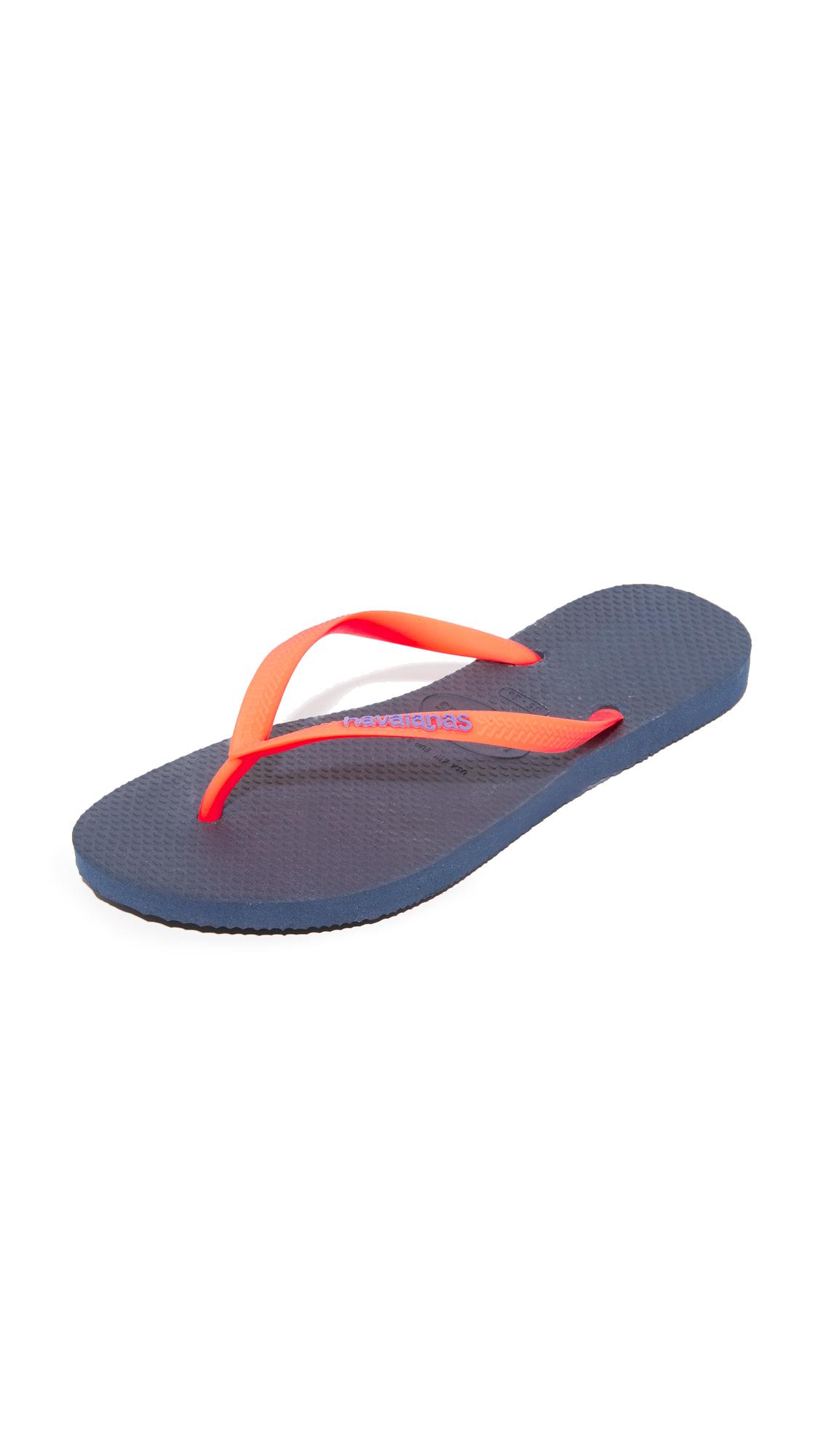 Havaianas Slim Logo Pop-Up Flip Flops - Navy Blue at Shopbop