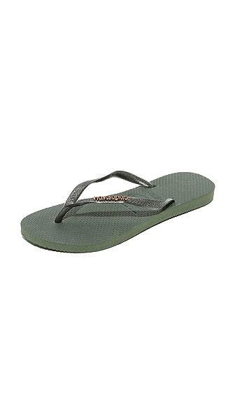 Havaianas Slim Logo Metallic Flip Flops In Green Olive