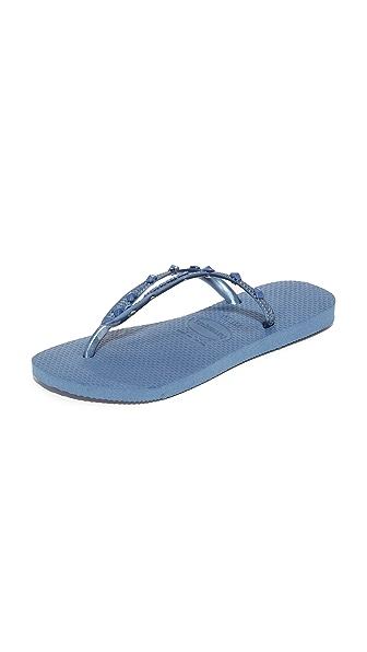 Havaianas Slim Hardware Flip Flops - Indigo Blue/Indigo Blue