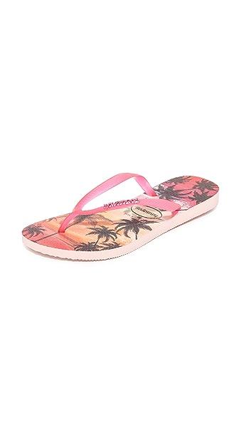 Havaianas Slim Paisage Flip Flops - Pearl Pink