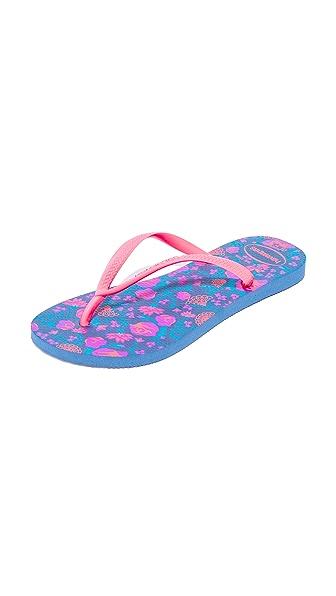 Havaianas Slim Romance Flip Flops - Indigo Blue