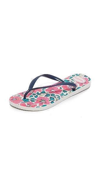 Havaianas Slim Floral Flip Flops - White/Navy Blue