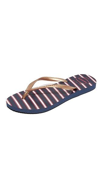 Havaianas Slim Americana Flip Flops - Navy Blue