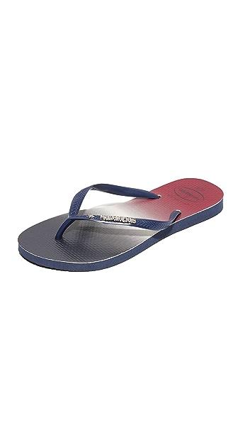 Havaianas Slim USA Ombre Flip Flops - Navy/Navy