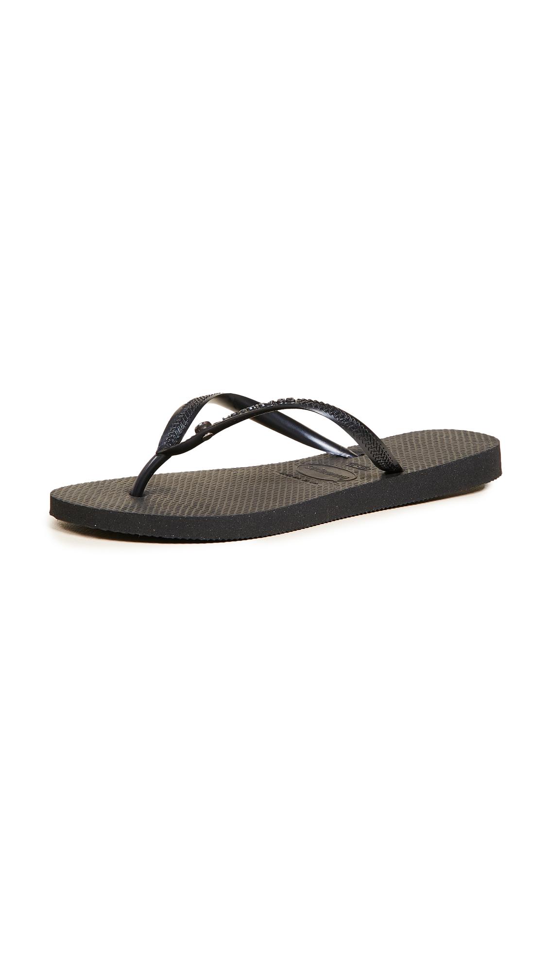 Havaianas Slim Crystal Glamour Flip Flops - Black