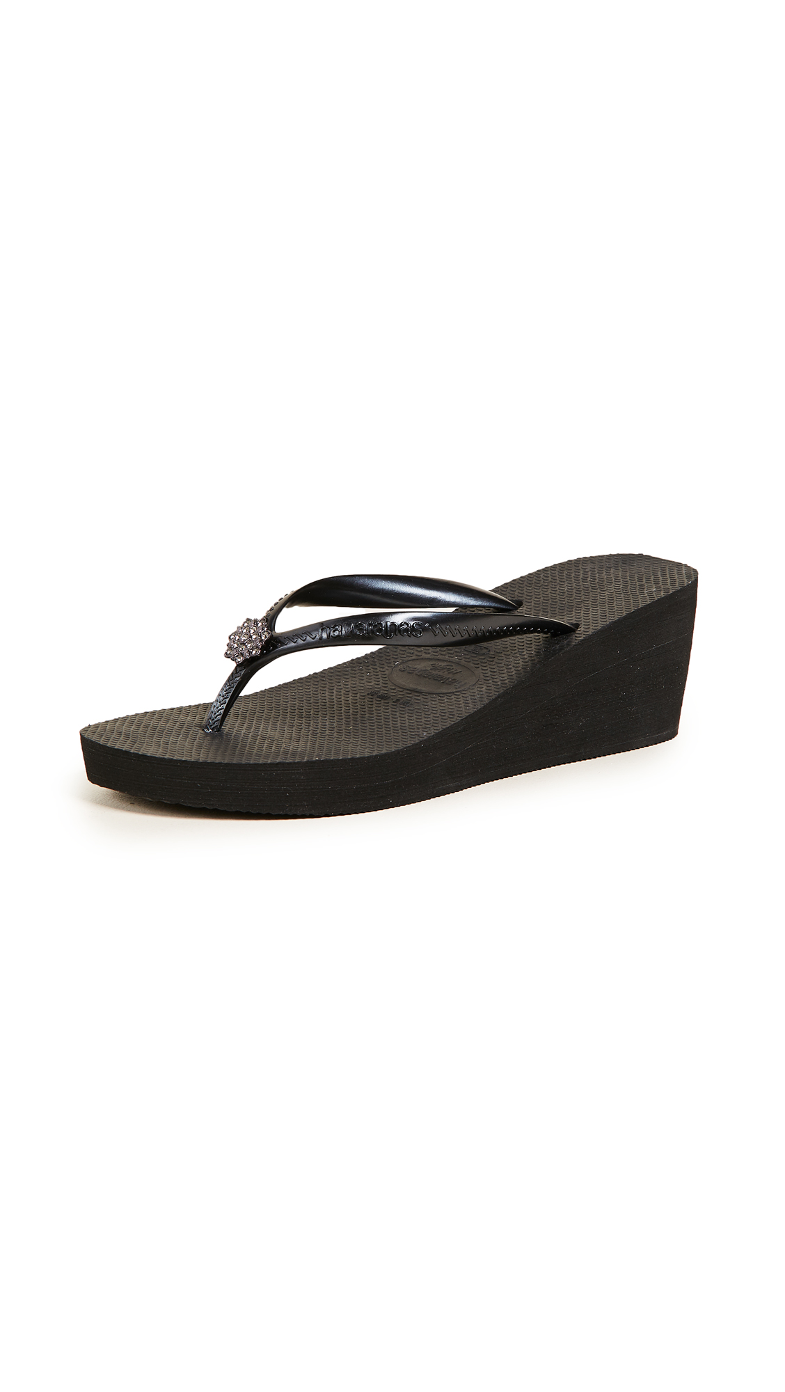 Havaianas High Fashion Poem Wedge Sandals - Black