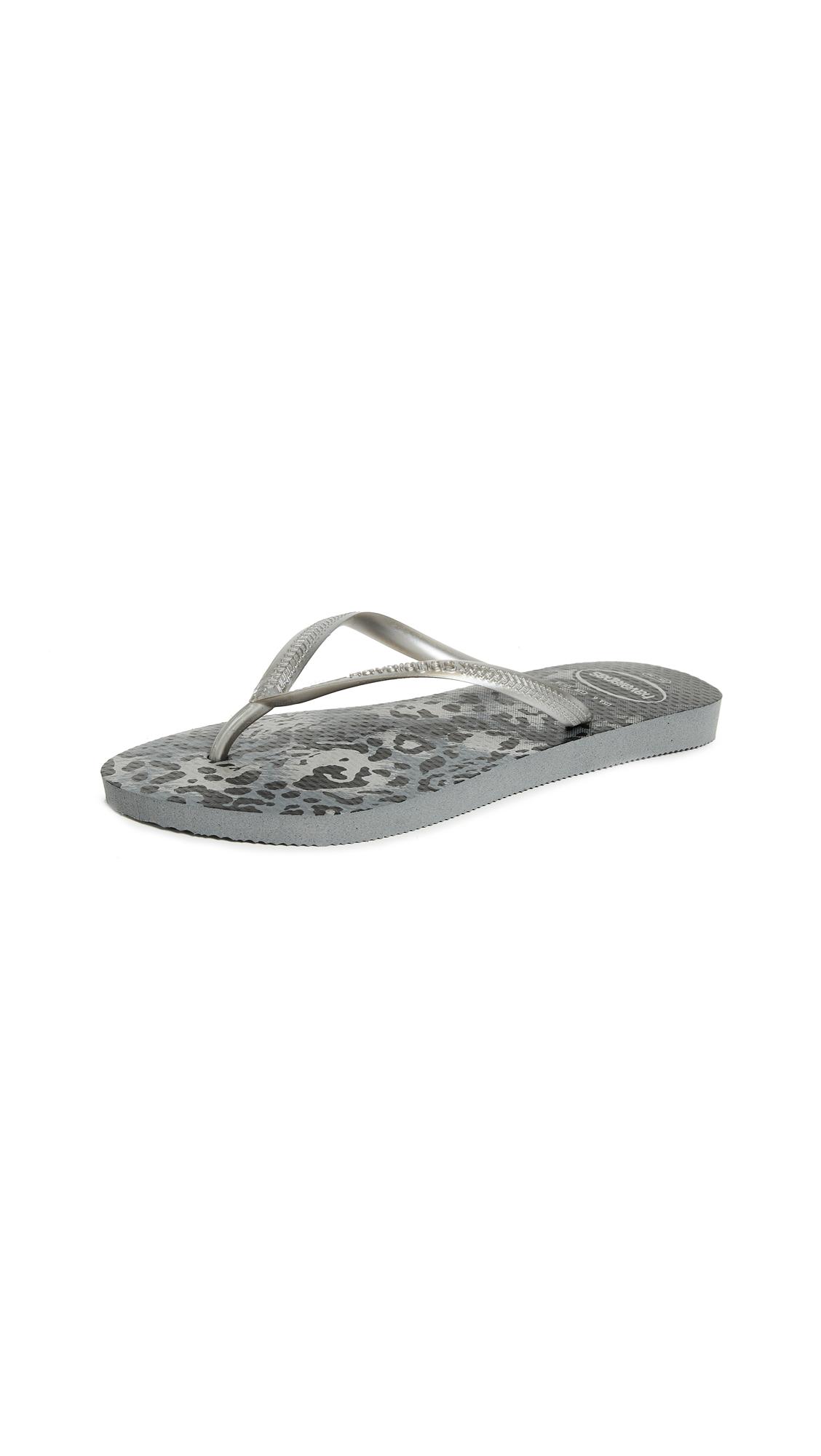 Havaianas Slim Animal Flip Flops - Grey/Silver
