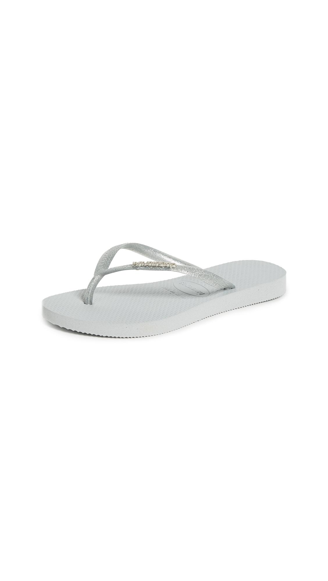 Havaianas Slim Logo Metallic Flip Flops - Grey