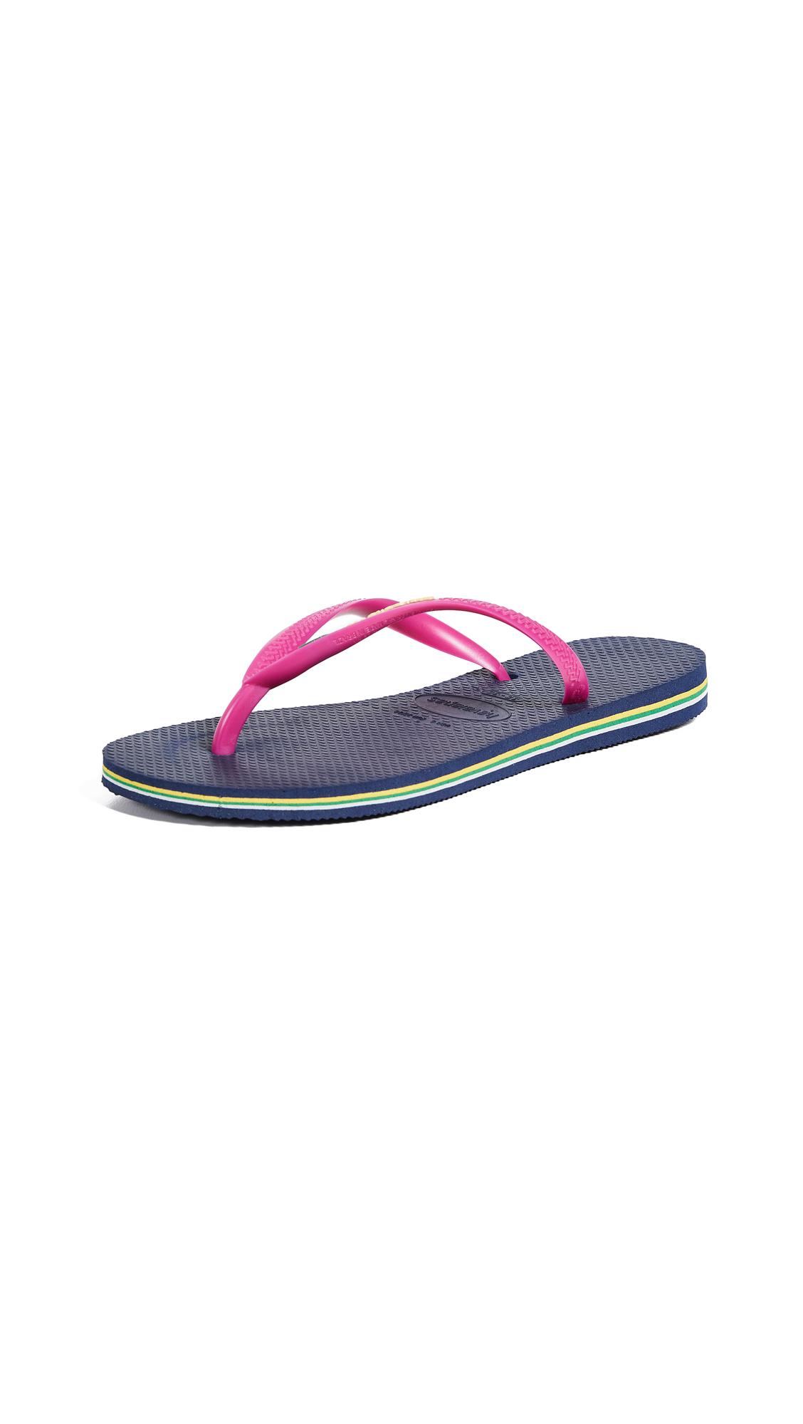Havaianas Slim Brazil Flip Flops - Navy Blue