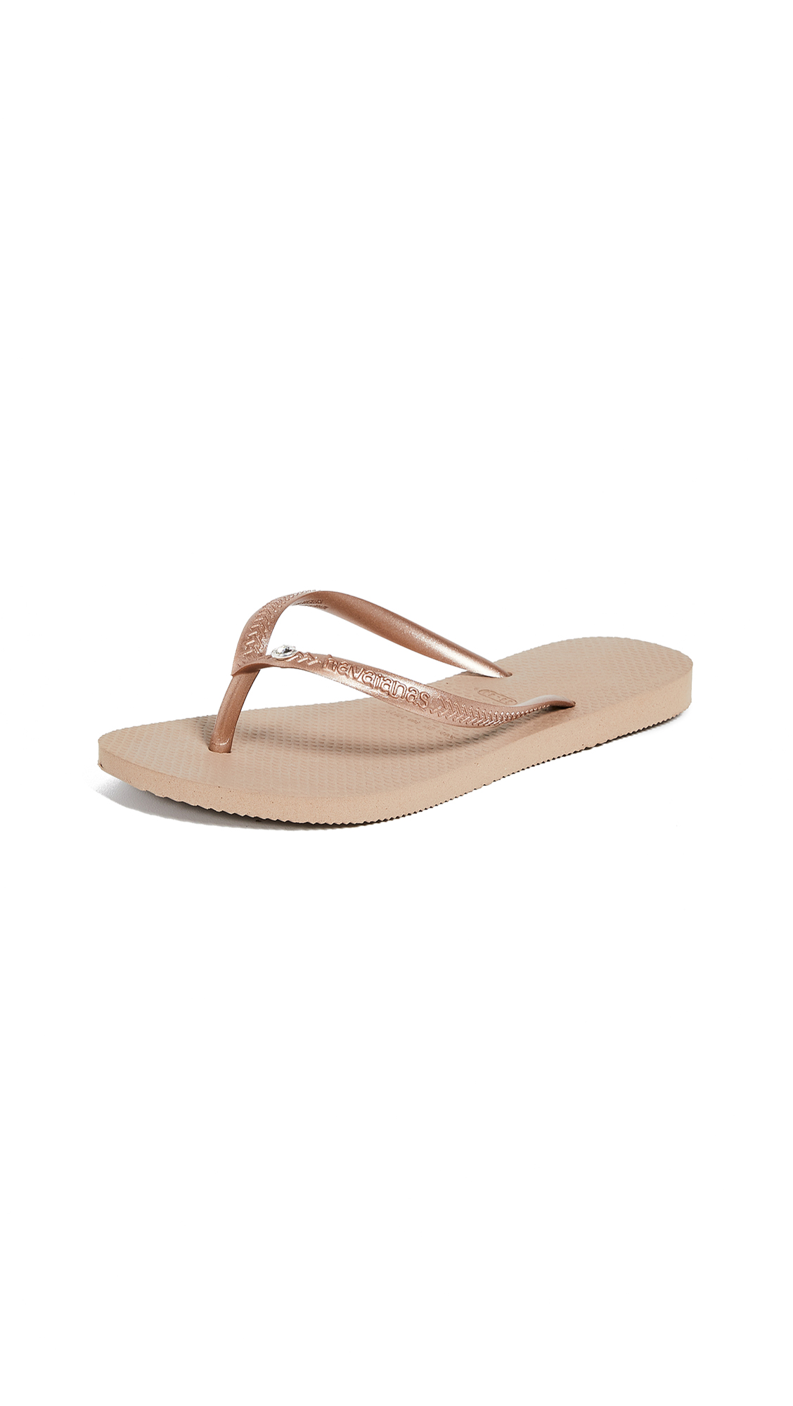 Havaianas Slim Crystal Glamour Flip Flops - Rose Gold