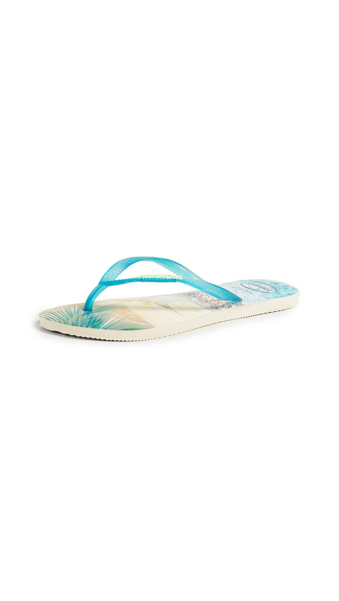 Havaianas Slim Paisage Flip Flops - Beige/Turquoise
