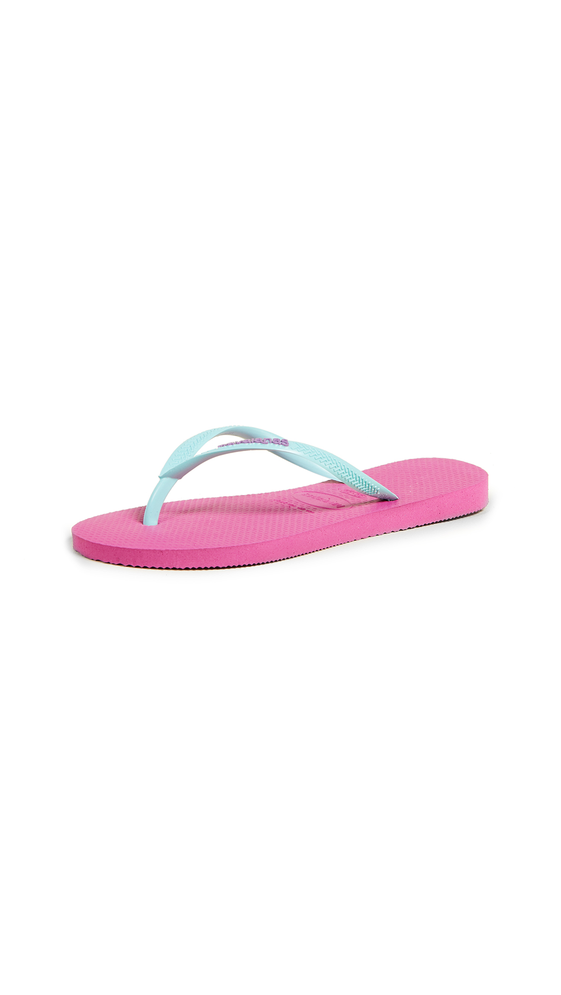 Havaianas Slim Logo Pop Up Flip Flops - Hollywood Rose/Ice Blue