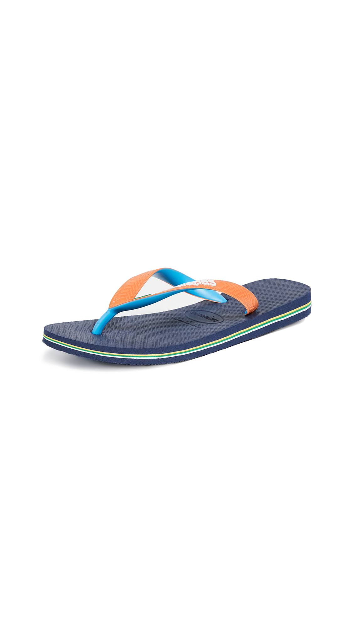 Havaianas Brazil Mix Flip Flops - Navy Blue/Neon Orange