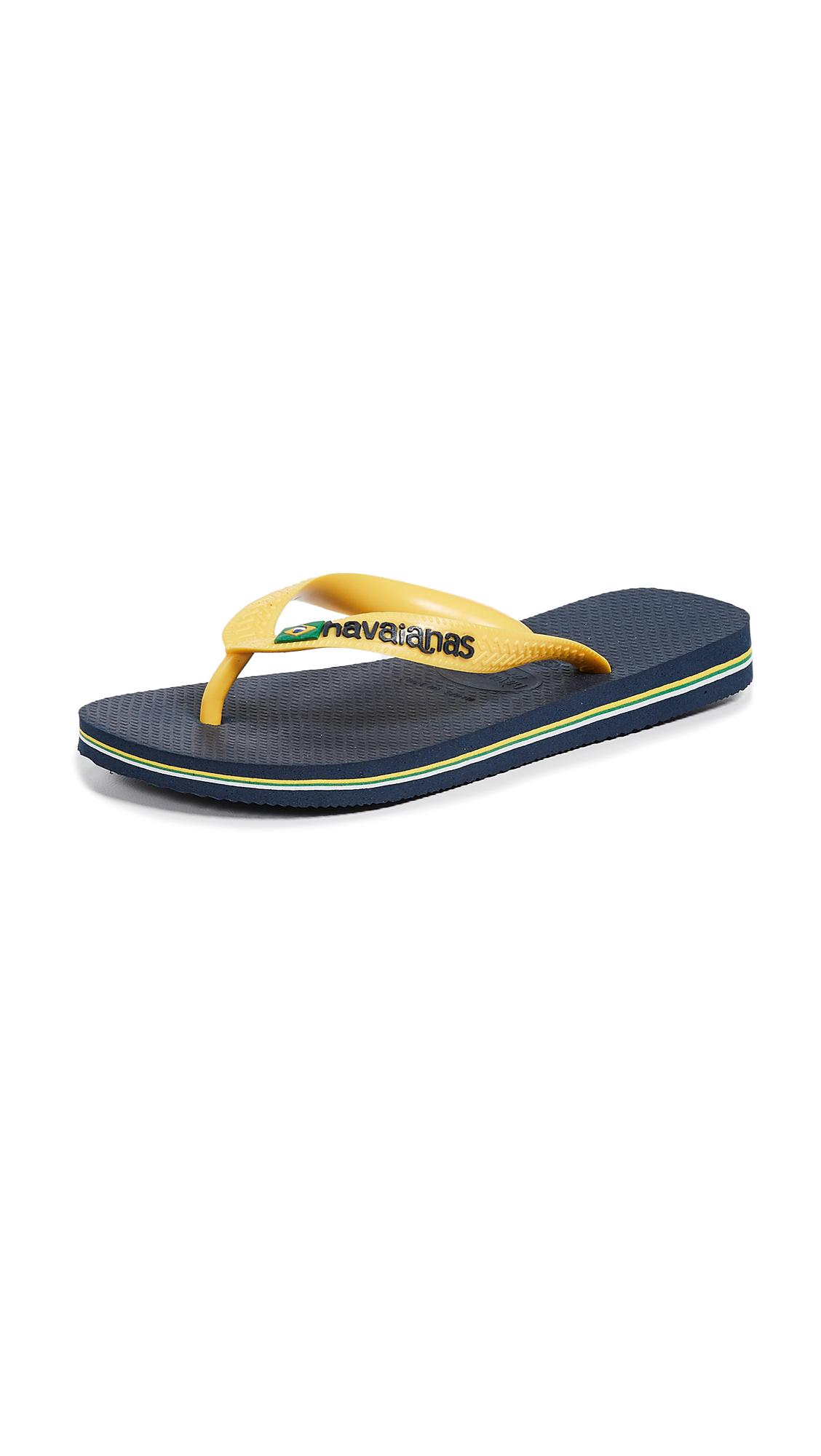 Havaianas Brazil Logo Flip Flops - Navy Blue/Citrus Yellow