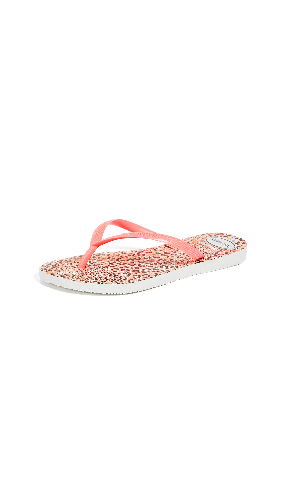Havaianas Slim Animal Flip Flops - White/Coral