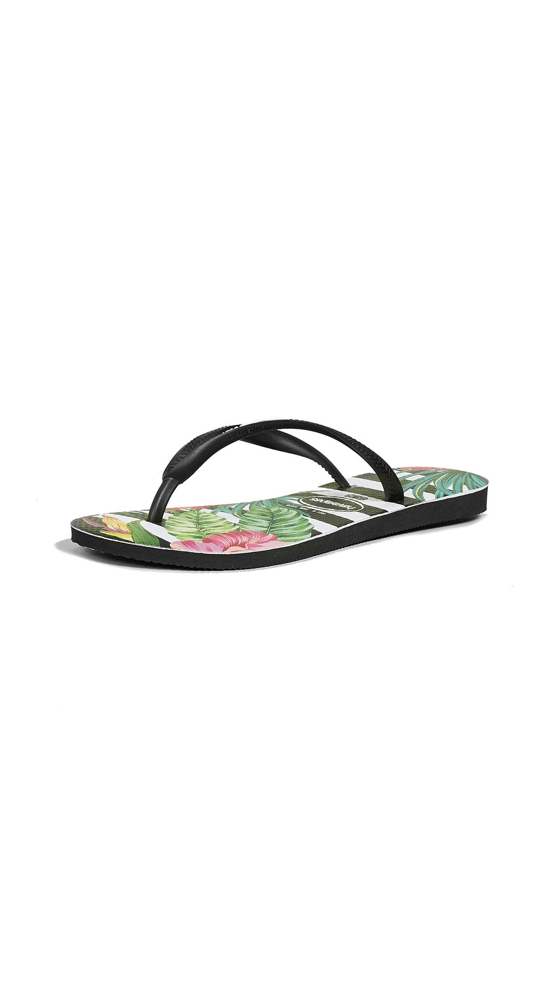 Havaianas Slim Tropical Floral Flip Flops - Black/Black/Imperial Palace