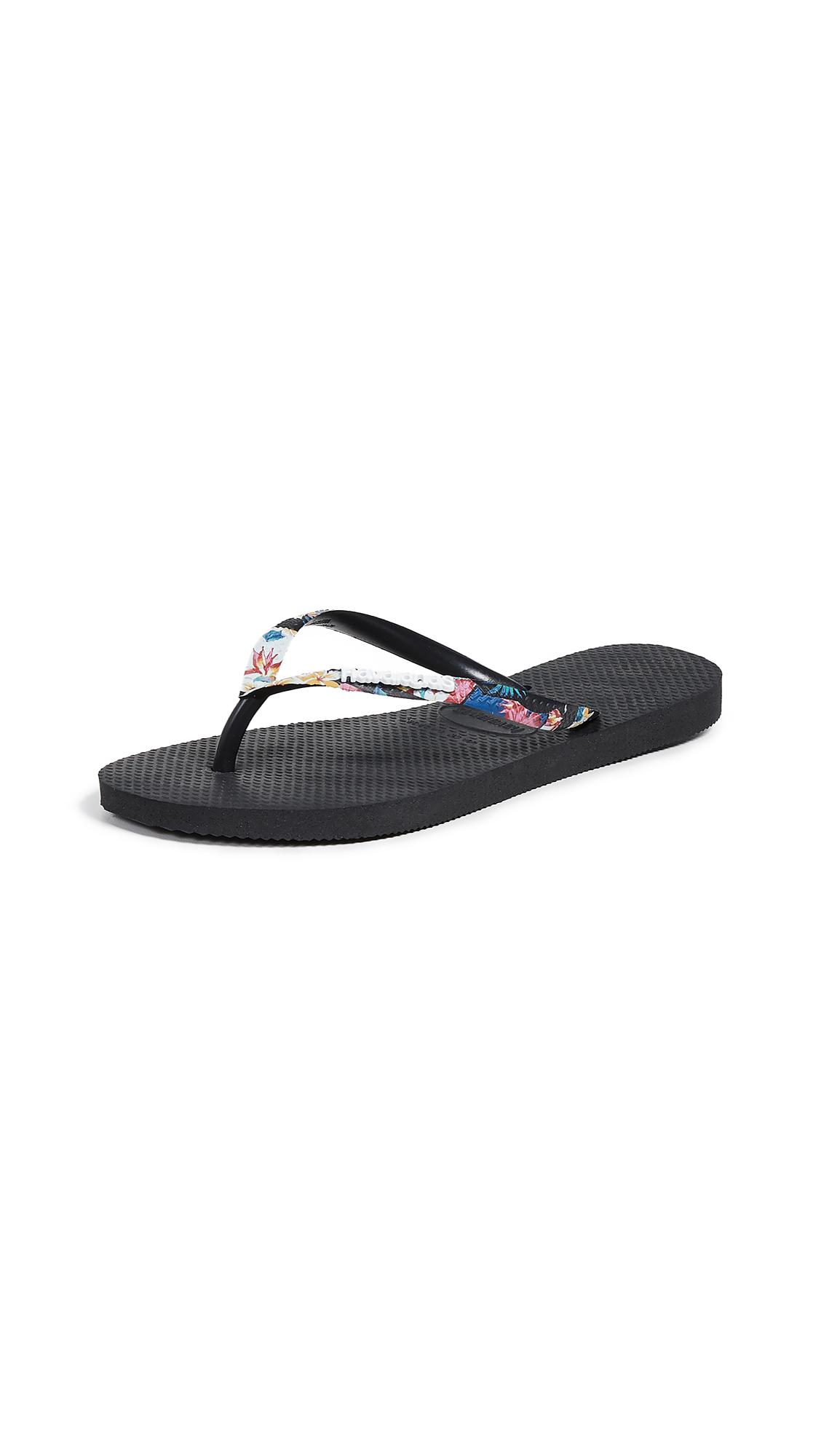 Havaianas Slim Tropical Strap Flip Flops - Black/Mystic