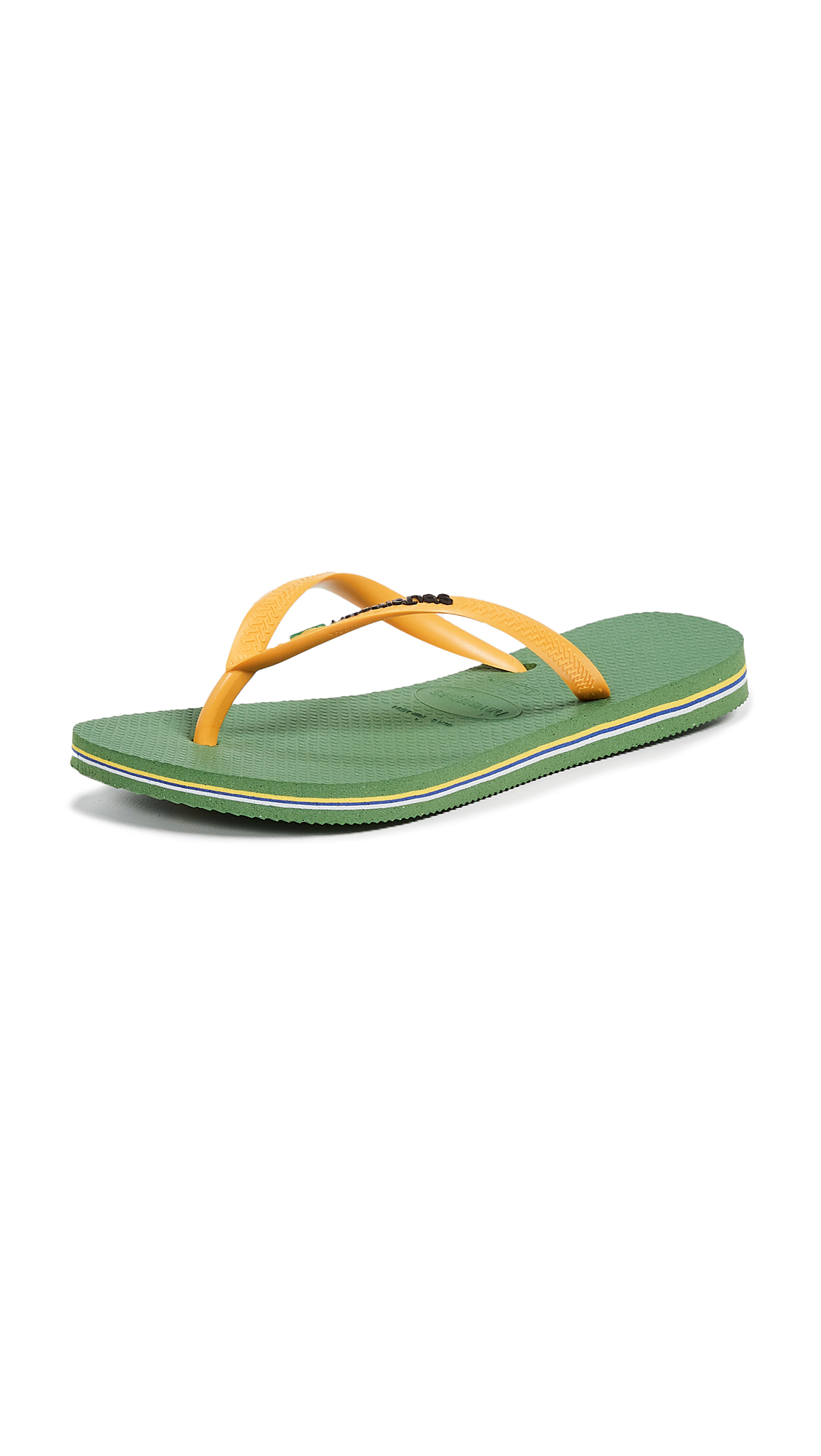 Havaianas Slim Brazil Flip Flops - Green Bamboo