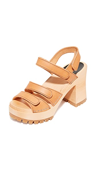 Swedish Hasbeens Velcra Sandals - Nature