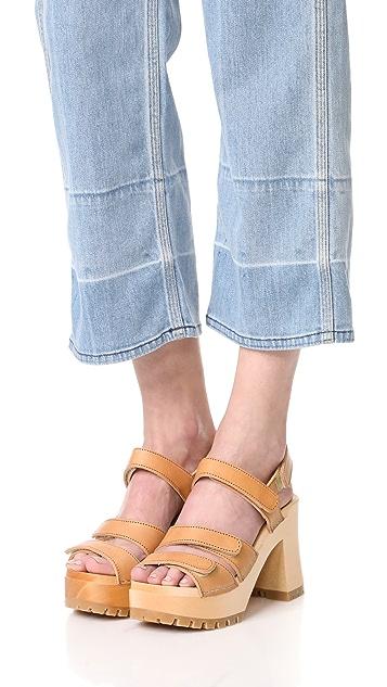 Swedish Hasbeens Velcra Sandals