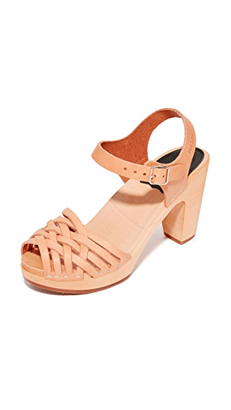 Swedish Hasbeens Braided Sky High Sandals - Nature