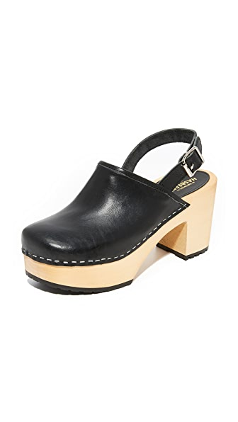 Swedish Hasbeens Jill Plateau Clogs In Black