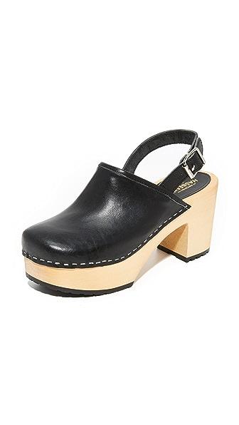 Swedish Hasbeens Jill Plateau Clogs - Black