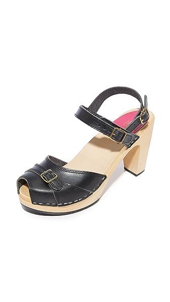 Swedish Hasbeens Preppy Sky High Sandals In Black