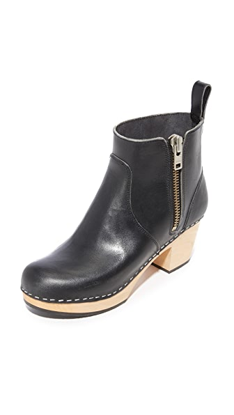 Swedish Hasbeens Zip It Emy Booties In Black