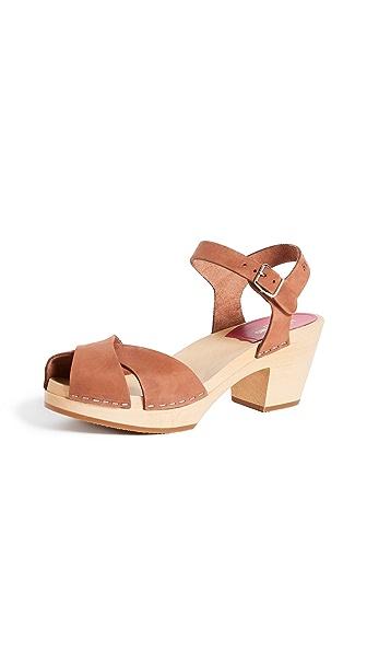 Swedish Hasbeens Mirja Sandals In Cognac