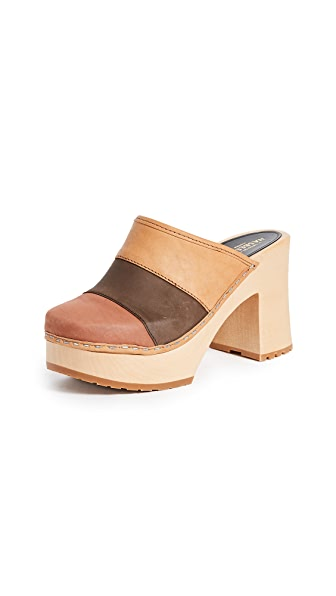 Swedish Hasbeens Multi Colored Clogs In Brown