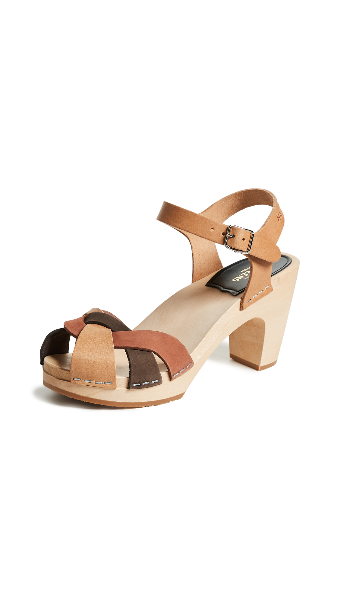 Swedish Hasbeens Kringlan Block Heel Sandals - Brown