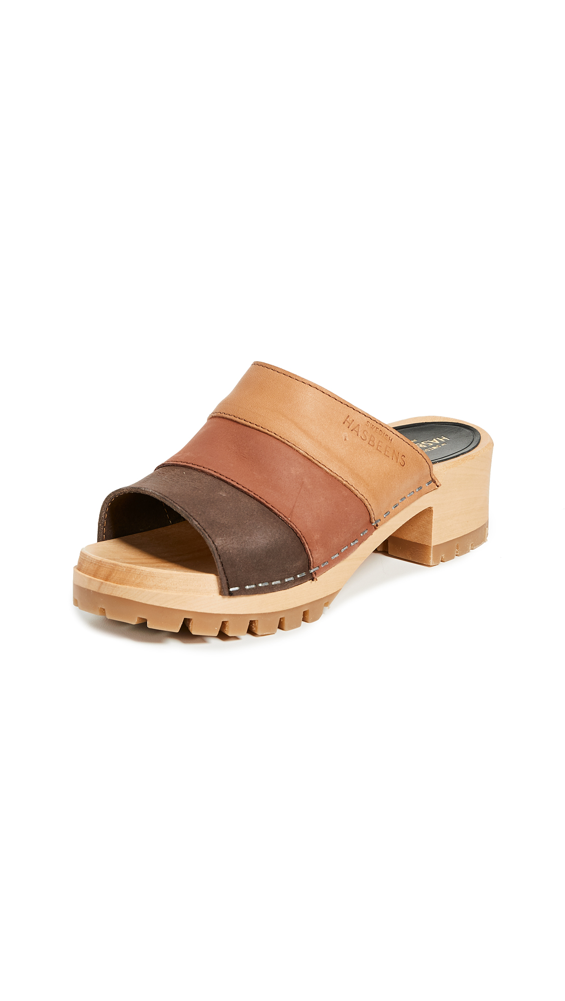 Swedish Hasbeens Mona Colorblock Sandals - Brown Multi