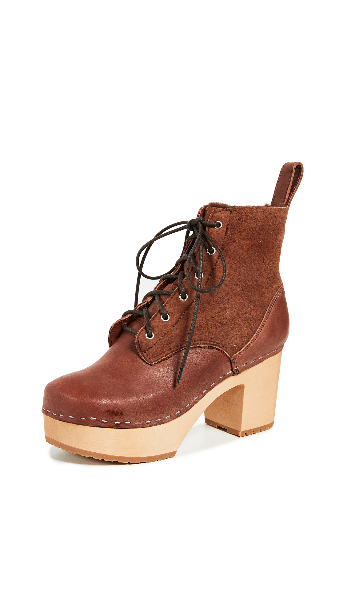 Swedish Hasbeens Hippie Lace Up Boots - Cognac