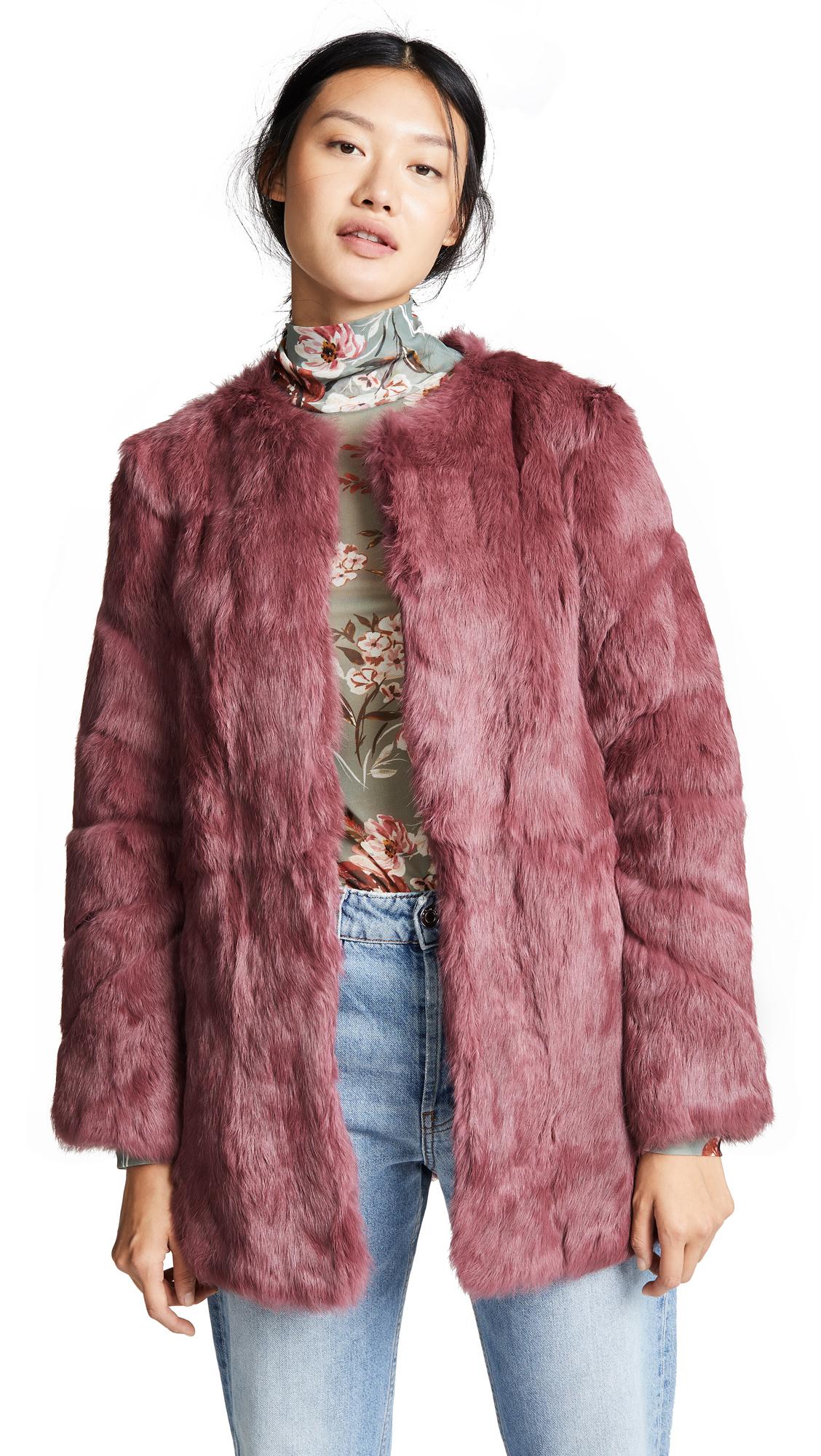 H BRAND Alyssa Rabbit Fur Coat in Berry